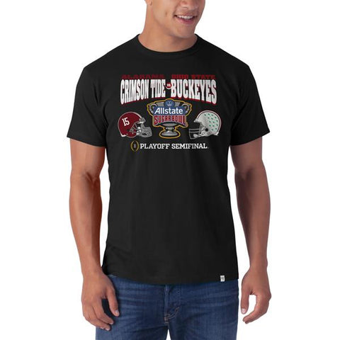 Alabama Crimson Tide Ohio State Buckeyes 47 Brand 2015 Sugar Bowl Black T-Shirt