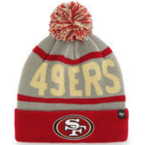Shop San Francisco 49ers 47 Brand Red Gray Rubble Knit Cuff Beanie Cap Poofball