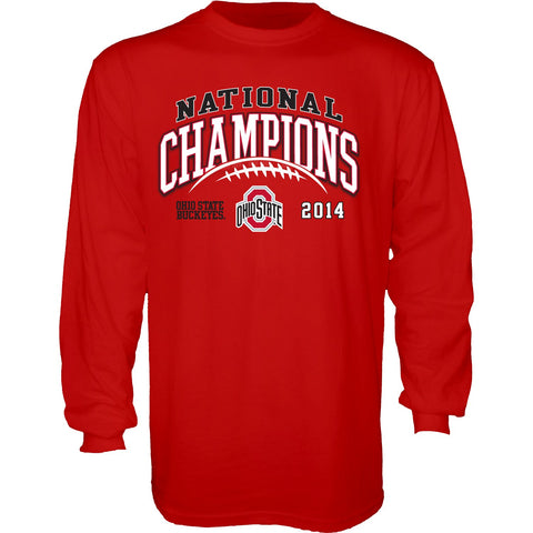Ohio State Buckeyes Blue 84 2015 College Football Champs Red Long Sleeve T-Shirt