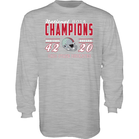 Ohio State Buckeyes Blue 84 2015 College Football Champs Gray Long Sleeve Shirt - Sporting Up