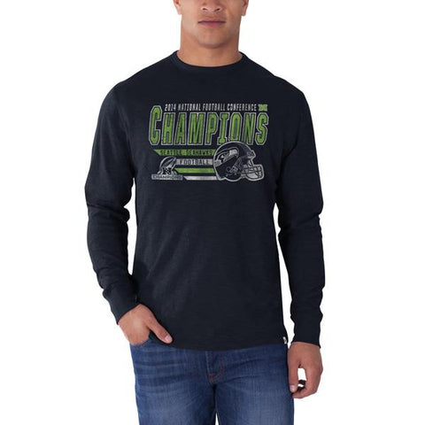 Shop Seattle Seahawks 47 Brand 2015 NFC Champions Super Bowl Long Sleeve Navy T-Shirt