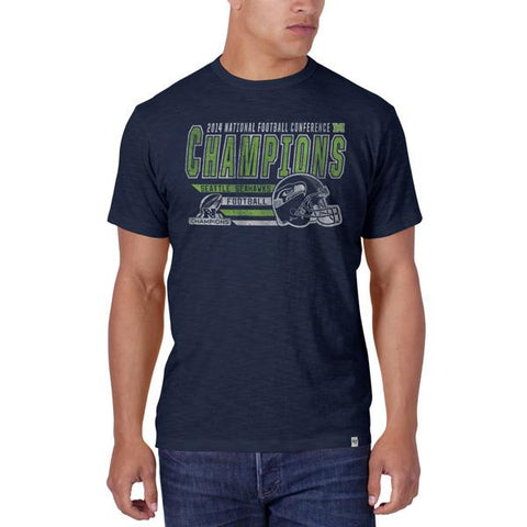 Shop Seattle Seahawks 47 Brand 2015 NFC Champions Super Bowl Helmet Navy T-Shirt