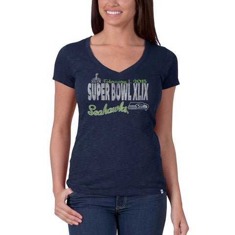 Shop Seattle Seahawks 47 Brand 2015 Super Bowl XLIX Womens V-Neck Navy Scrum T-Shirt