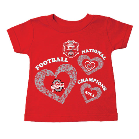 Shop Ohio State Buckeyes 2015 College Football Champions Infant Toddler Heart T-Shirt