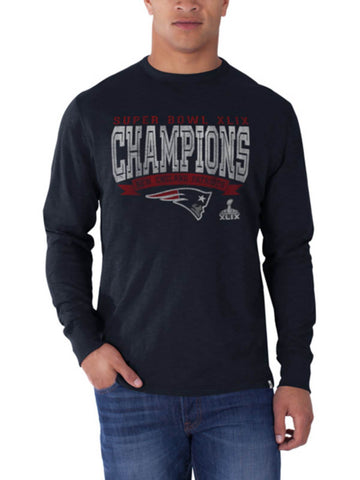 Shop New England Patriots 47 Brand Navy Super Bowl XLIX Champions Long Sleeve T-Shirt