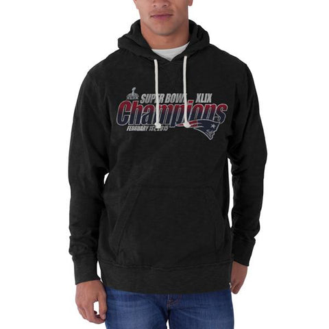 Shop New England Patriots 47 Brand Black Super Bowl XLIX Champions Sweatshirt Hoodie