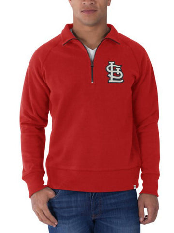 Shop St. Louis Cardinals 47 Brand Red Cross-Check 1/4 Zip Pullover Sweatshirt - Sporting Up
