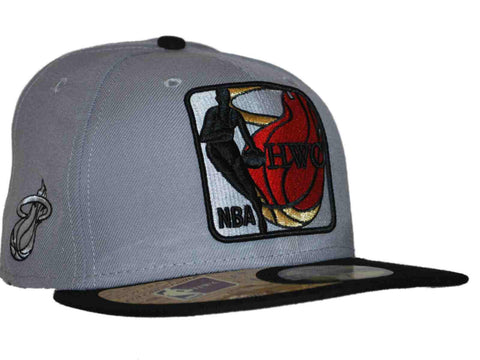 Shop Miami Heat New Era Gray NBA Hardwood Classics 59Fifty Fitted Flat Bill Hat Cap