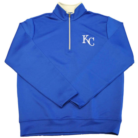 Shop Kansas City Royals Antigua Royal Blue Leader 1/4 Zip Pullover Jacket