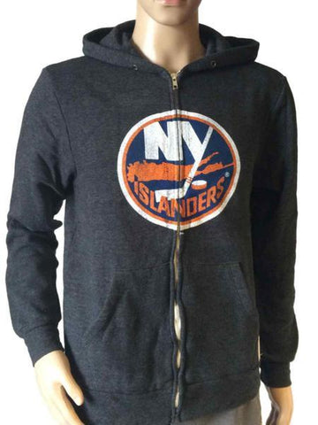 Shop New York Islanders Retro Gray Triblend Fleece Zip-Up Hoodie Sweatshirt Jacket - Sporting Up
