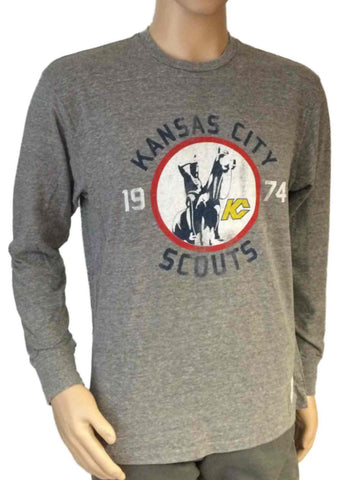 Kansas City Scouts Retro Brand Gray Triblend Long Sleeve Vintage T-Shirt