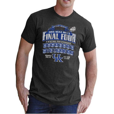 Kentucky Wildcats 2015 Indianapolis Final Four 17 Appearances Gray T-Shirt