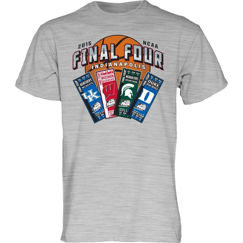 2015 NCAA Final Four Ticket Team Logos Indianapolis Basketball Gray T-Shirt