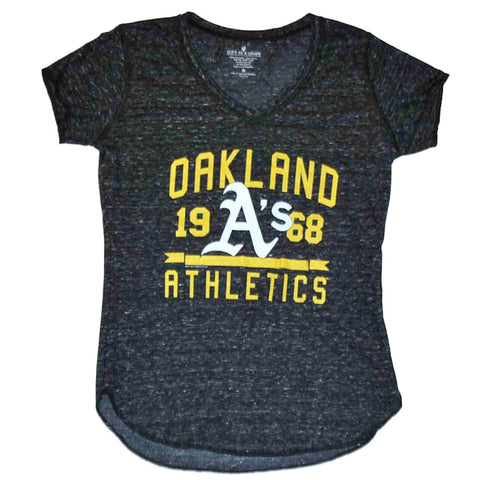 Shop Oakland Athletics A's SAAG Women Gray Flecked Lightweight V-Neck T-Shirt