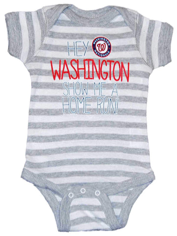 Washington Nationals SAAG Infant Gray Striped Home Run One Piece Outfit - Sporting Up