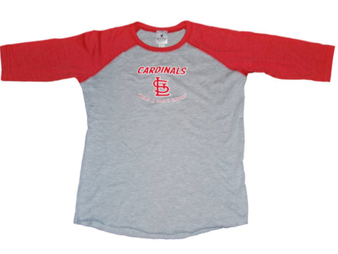 Shop St. Louis Cardinals SAAG Youth Girls Gray Red 3/4 Sleeve Baseball T-Shirt - Sporting Up