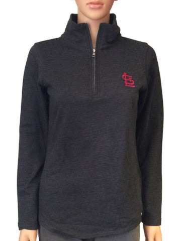 Shop St. Louis Cardinals SAAG Women Gray 1/4 Zip Pullover Lightweight Jacket