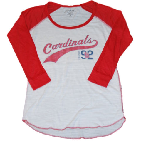 Shop St. Louis Cardinals SAAG Women White Red 3/4 Sleeve Tri-Blend T-Shirt