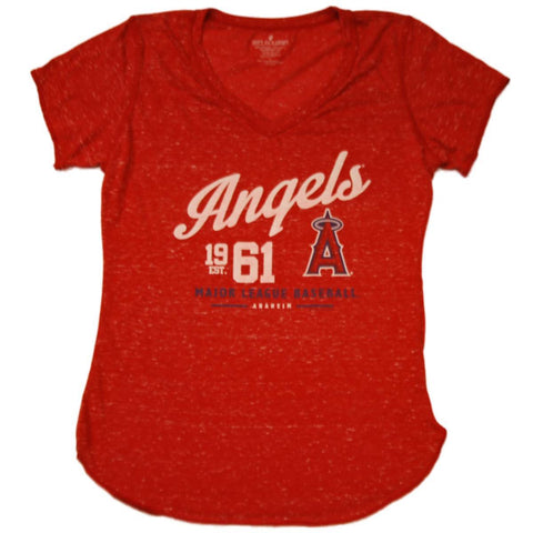 Los Angeles Angels SAAG Women Red Flecked Lightweight V-Neck T-Shirt