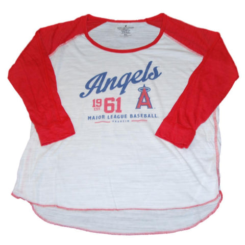 Shop Los Angeles Angels SAAG Women White Red 3/4 Sleeve Tri-Blend T-Shirt