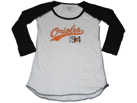 Shop Baltimore Orioles SAAG Women White Black 3/4 Sleeve Tri-Blend T-Shirt