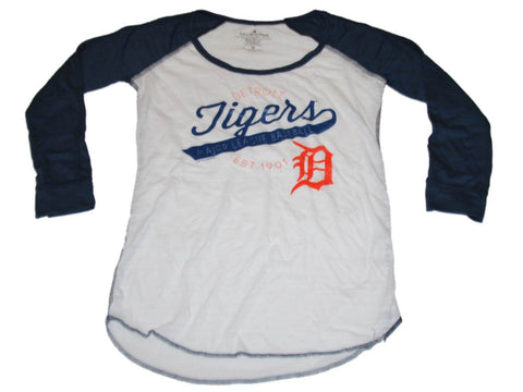 Shop Detroit Tigers SAAG Women White Navy 3/4 Sleeve Tri-Blend T-Shirt - Sporting Up