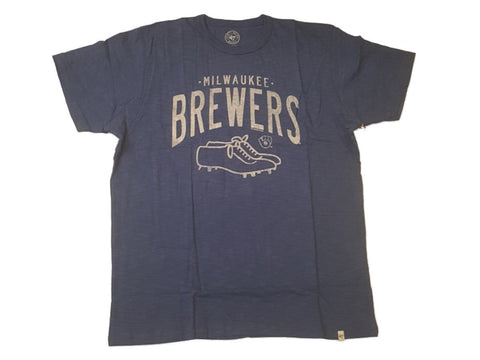 Shop Milwaukee Brewers 47 Brand Bleacher Blue Cleats Logo Soft Cotton Scrum T-Shirt