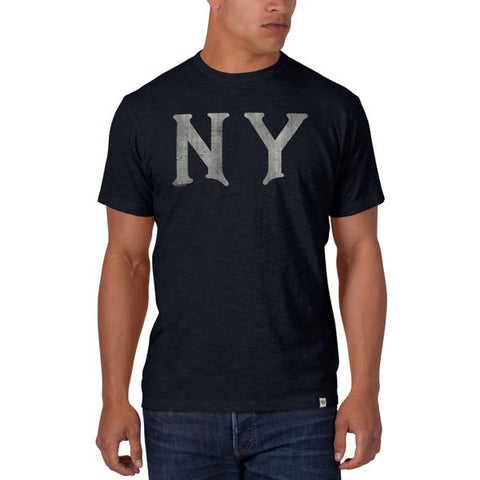 "Shop New York Yankees 47 Brand Fall Navy ""NY"" Logo Soft Cotton Scrum T-Shirt - Sporting Up"