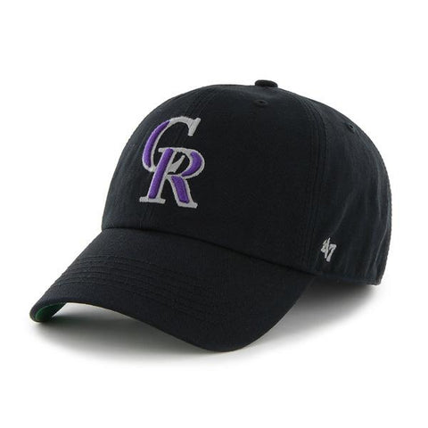 Shop Colorado Rockies 47 Brand Franchise Black Purple CR Logo Script Back Hat Cap - Sporting Up