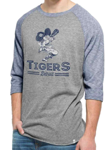 Shop Detroit Tigers 47 Brand Vintage Grey Blue Union Tri-Blend Baseball T-Shirt