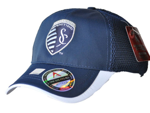 Shop Sporting KC Antigua Navy Performance Fairway Technical Fit Adjustable Hat Cap