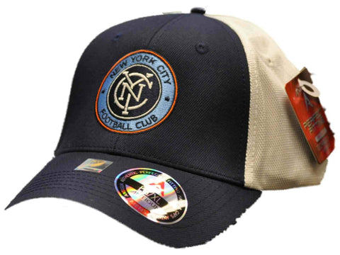 Shop New York City FC Antigua Navy White Performance Technical Fit Phase Mesh Hat Cap - Sporting Up