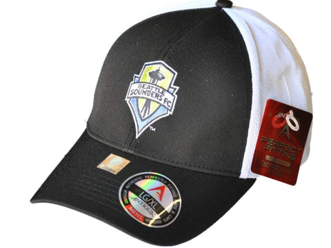 Shop Seattle Sounders Antigua Black White Performance Technical Fit Phase Hat Cap