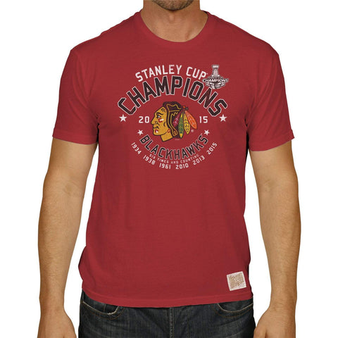 Shop Chicago Blackhawks Retro Brand 2015 Stanley Cup Champions 6 Times Red T-Shirt - Sporting Up
