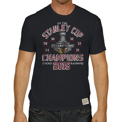 Shop Chicago Blackhawks Retro Brand 2015 Stanley Cup Champions 6 Times Black T-Shirt