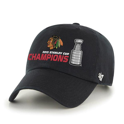 Shop Chicago Blackhawks 2015 NHL Stanley Cup Champs Black Trophy 47 Brand Adj Hat Cap