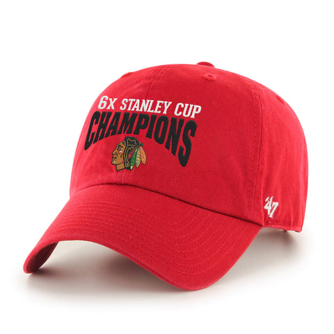 Chicago Blackhawks 47 Brand Stanley Cup Six Times Champions Red Adj Hat Cap