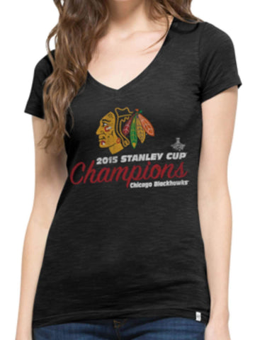 Shop Chicago Blackhawks 2015 NHL Stanley Cup Champs 47 Brand Women Scrum T-Shirt