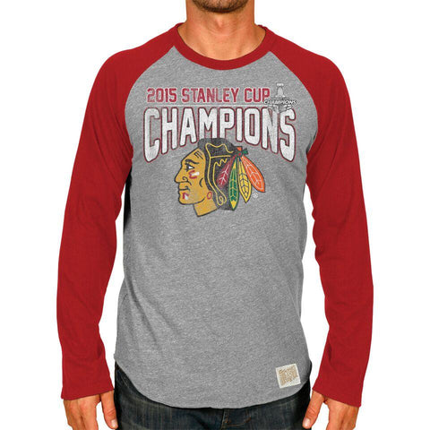 Shop Chicago Blackhawks Retro Brand 2015 Stanley Cup Champions Long Sleeve T-Shirt
