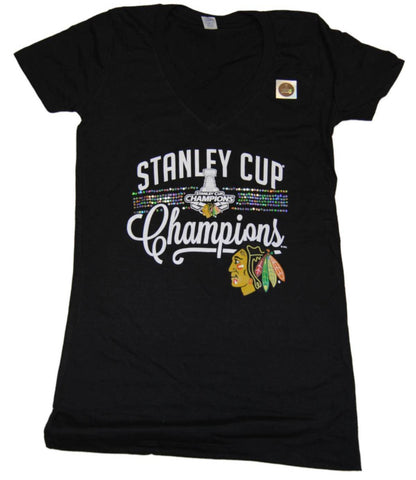 Chicago Blackhawks 2015 Stanley Cup Champs Women Sequin SAAG T-Shirt
