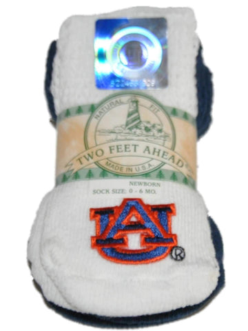 Shop Auburn Tigers Two Feet Ahead Infant Baby Newborn 3 Pair Navy White Socks Pack - Sporting Up