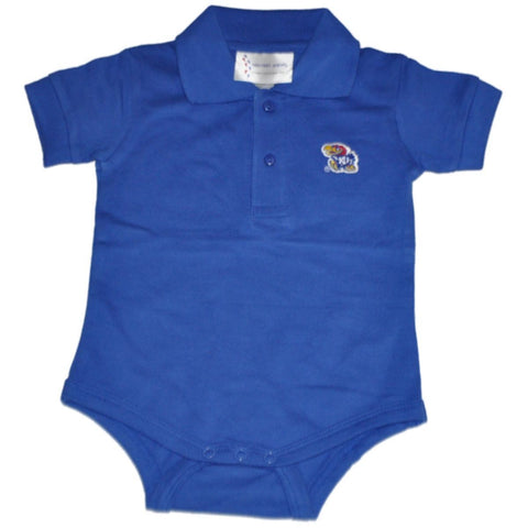 Shop Kansas Jayhawks Two Feet Ahead Baby Infant Golf Polo Blue One Piece Outfit - Sporting Up