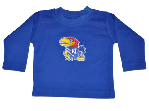 Shop Kansas Jayhawks Two Feet Ahead Baby Infant Blue Long Sleeve Cotton T-Shirt - Sporting Up