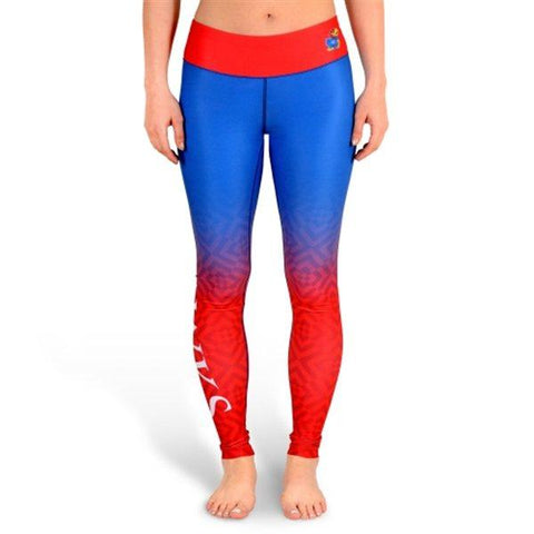 Shop Kansas Jayhawks FC Women Blue Red Workout Performance Leggings
