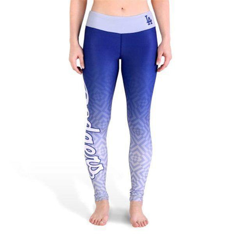 Shop Los Angeles Dodgers FC Women Blue Gray Workout Performance Leggings - Sporting Up