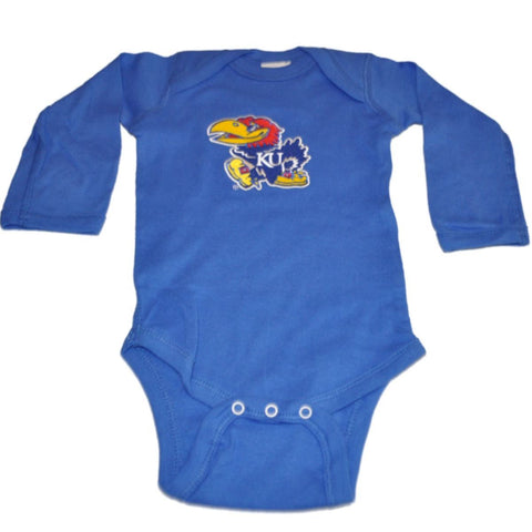 Shop Kansas Jayhawks Two Feet Ahead Infant Baby Blue Long Sleeve Creeper Outfit - Sporting Up