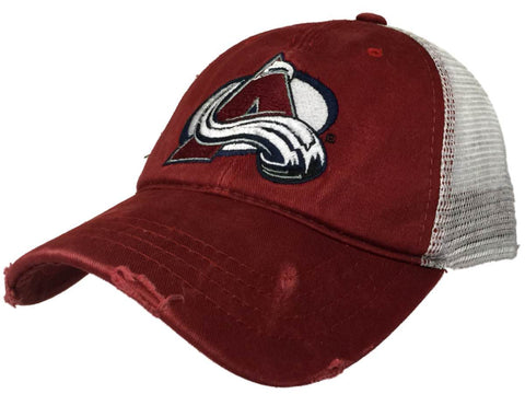 Shop Colorado Avalanche Retro Brand Red Worn Mesh Vintage Adj Snapback Hat Cap