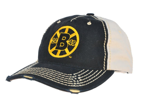 Shop Boston Bruins Retro Brand Black Beige Two Tone Stitched Vintage Snapback Hat Cap - Sporting Up