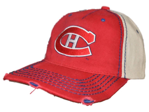 Shop Montreal Canadiens Retro Brand Red Beige Worn Vintage Stitched Snapback Hat Cap - Sporting Up