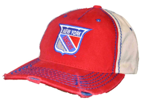 Shop New York Rangers Retro Brand Red Beige Vintage Stitched Snapback Hat Cap - Sporting Up